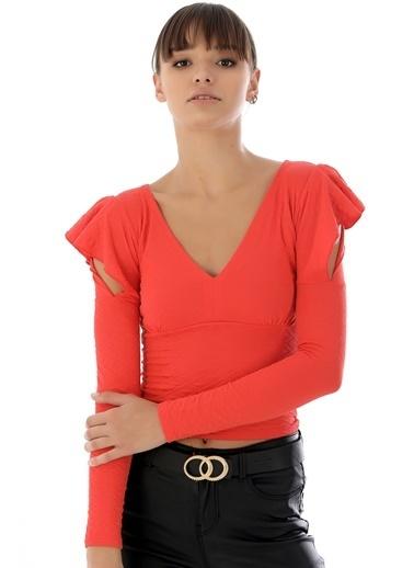 Emjey Omuz Detaylı Bluz Kiremit